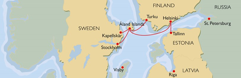 Route Map Our Ships Cruises And Regular Viking Line